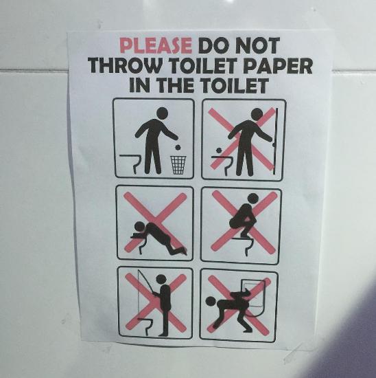 Signalétique dans les toilettes du village olympique de Rio de Janeiro - 2016