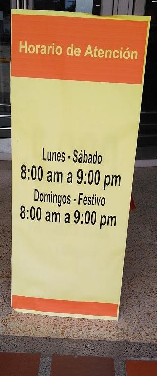 Les horaires d'ouverture de mon supermarché Metro à Barranquilla.