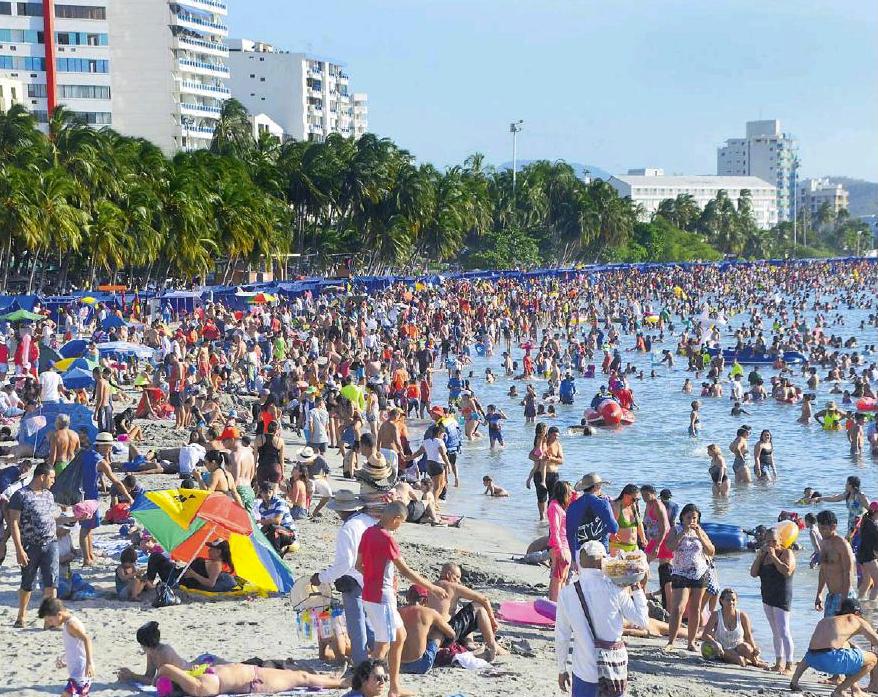 La plage du Rodadero (Santa Marta) ce premier janvier...