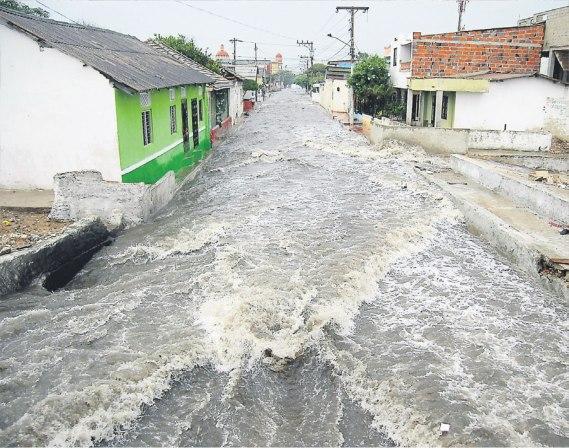Un torrent de Barranquilla lors d'un orage tropical.