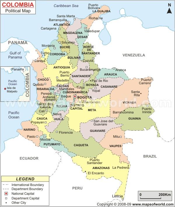 Carte des Etats de la Colombie